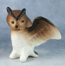 Vintage Miniature Bone China Owl Figurine With Wings Spread Made In Japan