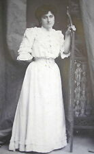 LADY w/EXCEPTIONAL ANTIQUE EDWARDIAN WHITE DRESS COTTON BLOUSE & SKIRT PHOTO