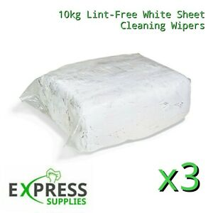 30kg Bag White Cotton Sheet Lint-Free Cleaning Rags / Wipers / Cloths / Bundle