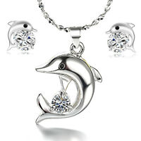 Crystal Dolphin 925 Sterling Silver Pendant Necklace Earrings Set Women Jewelry