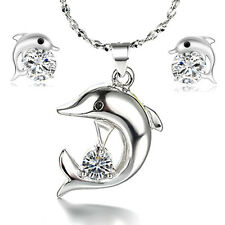 925 Silver Crystal Dolphin Pendant Necklace Earrings Set Women Fashion Jewelry