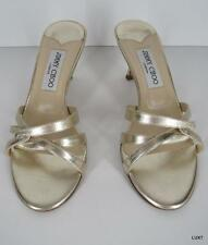 JIMMY CHOO Sandals 7 37 Metallic Gold Leather Criss Cross Kitten Heels Slides