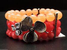 Fossil Heritage Flower Bracelet Triple Row Pink Bead Stretch Semi Precious New!