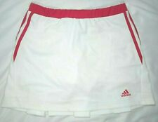 ADIDAS Response Tennis Skirt Sz Large White Pink With Shorts Climalite Pleated