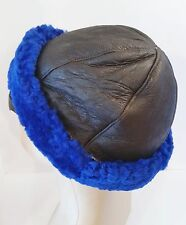 Handmade Beanie Round Navy Blue Brown Sheepskin Shearling Fur Hat Real Leather