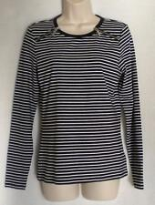 MICHAEL KORS Black White Stripes Shoulder Zippers LS Top S NWT Womans ($69.50)