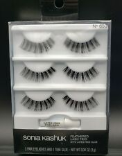 Sonia Kashuk Feathered Lash Trio With Latex Free Glue  Reusable No 650