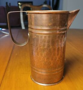 """Vintage HAMMERED SOLID COPPER PITCHER from TURKEY 7"""" Tall NICE !"""