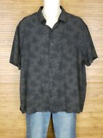 Nat Nast Gray Silk Blend Graphic Hawaiian Shirt Mens Size XL EUC