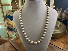 VINTAGE STERLING SILVER MEXICO GRADUATED BEAD NECKLACE