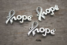 12pcs Hope charms silver tone Cancer Ribbon hope Charm Connectors 38x23mm