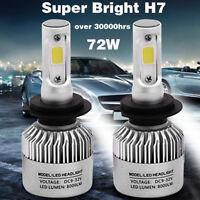 2x S2 H7 72W 8000LM LED Light Headlight Car Hi/Lo Beam Bulb Fog Lamp Kit 6500K