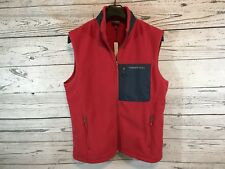 Vineyard Vines Mens Red Navy Pocket Fleece Full Zip Vest Size Medium NWT