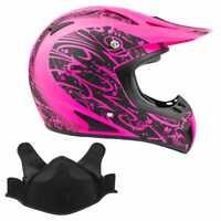 Snowmobile Helmet Snocross Matte Pink With Breathbox DOT Adult Snow Open Face