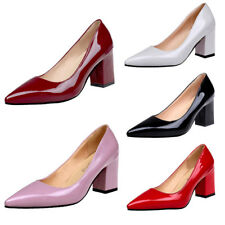 Womens Ladies Pointed-Toe Court Shoes Classics High Block Heels Pumps Plus Size