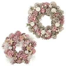 Festive Patel Decorative Pine Cone Pink Christmas Door Flower Wreath 24 34cm