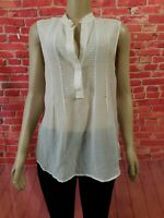 Theory OONA Pavilion Ivory White Sleeveless Cotton silk Women's Top Blouse Sz L
