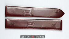 Cartier OEM Tank Red Leather Strap Cartier Logo Pattern 15x14mm Deployment NOS