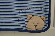 Carter's Little Guy on the Go Teddy Bear Blue Baby Blanket Stripe Security Lovey