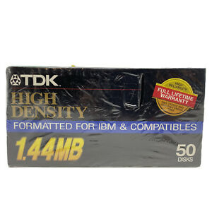 TDK 3.5 Floppy Disks 50 High Density 1.44 MB MF 2HD 2 Sided Formatted IBM PC
