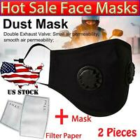 2X Black Masks Respirator Air Purifying Carbon Filter Cotton Mouth Anti Haze Fog