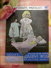 """Vintage 40s Knitting Pattern """"DOLLIES WOOLIES"""" For Baby Doll, 16 & 20in. Dolls"""