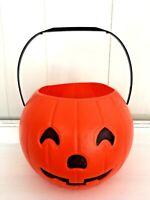 1985 Plastic Assembly Corp Blow Mold Halloween Pumpkin/Trick/Treat Bucket