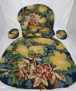 HandMade Wool Needlepoint Floral Chair Cover Set Tapestry