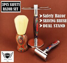 3 Pcs  Safety Razor Set Men's Shaving Kit With Badger Hair Brush & Dual Stand