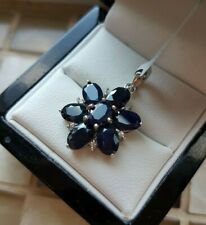 925 STERLING SILVER WOMENS BLUE & WHITE SAPPHIRE CLUSTER PENDANT  NEW - GEMS TV