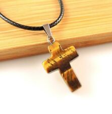 Natural Tigers Eye Gemstone Cross Pendant on a Black Waxed Cord Necklace #1938