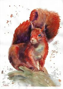 original painting A3 139PO art samovar watercolor animal squirrel Signed 2021