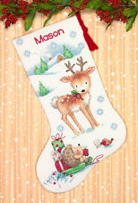 Cross Stitch Kit ~ Dimensions Reindeer & Hedgehog Christmas Stocking #70-08978