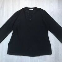 Plus size black long sleeve tunic top with lace insert by CANVAS UK 22 AE
