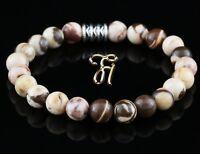 Zebra Jaspis Armband Bracelet Perlenarmband braun beige 8mm