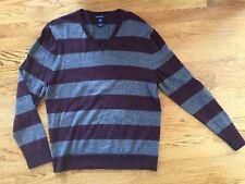 c3e3cc34721cc Gap  Men s Soft Merino Wool Burgundy Gray Stripe V-Neck Sweater