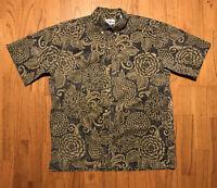 Vintage Reyn Spooner Floral Hawaiian Half Button Down Shirt Green Size Large G
