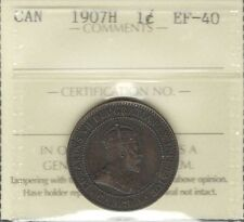 1907H Large Cent ICCS Graded EF-40 ** Beautiful RARE Edward VII KEY Canada Penny