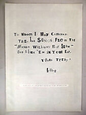 Mason Williams Ear Show PRINT AD - 1968 ~~ Irving Music, kidnapper's note