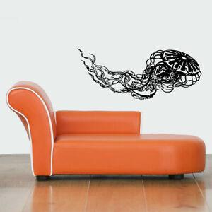 Wall Vinyl Sticker Decals Mural Design Floral Jellyfish nautical decor art #548