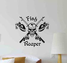 Fish Reaper Wall Decal Fishing Fisherman Gift Rod Vinyl Sticker Poster Decor 724