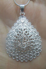 """Sterling Silver Tear Drop Shapped Necklace with 18"""" Sterling Silver Snake Chain"""