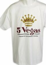 5 Vegas T Tee Shirt White Short Sleeve Premium Handmade Cigars Size Large ✫NEW✫