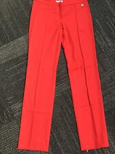 Versace SO DRESSY lipstick red thin wool flat front day to night pants slacks 42