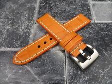 New BIG CROCO 24mm LEATHER STRAP watch Band Orange with White Stitch PAM REG