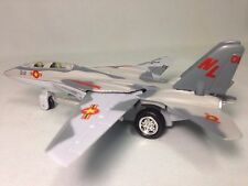 """F-14 Tomcat Aircraft U.S. Navy Military, 7"""" Diecast Pull Back To Go Toys Gray"""
