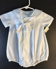 Petit Ami Baby Blue Nautical Boy's Romper  6 Months White Buttons And Trim