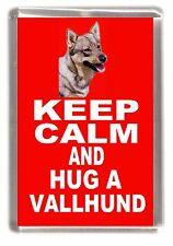 "Swedish Vallhund Dog Fridge Magnet ""KEEP CALM AND HUG A VALLHUND"" by Starprint"