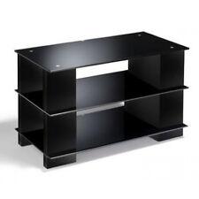 TV Stand Black Glass CD DVD storage Black Wood Open Cabinet LCD LED ELITE Media