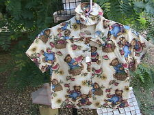 TEDDY BEAR Boy/Girl button-up shirt, bear buttons Size 1/2 HANDMADE 100% cotton